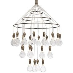 This fabulous three-ring antique bronze pendant chandelier has an integrated LED in each of its twenty eight clear glass bulbs.