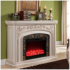 Grand White Electric Fireplace at Big Lots. Saw this at of all place Big Lots and it's gorgeous! Big Lots Electric Fireplace, Big Lots Fireplace, White Fireplace, Fireplace Mantle, Fireplace Design, Electric Fireplaces, Fireplace Screens, Mantle Styling, White Mantel