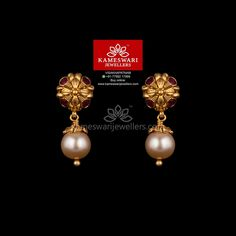 Mesmerizing collection of gold earrings from Kameswari Jewellers. Shop for designer gold earrings, traditional diamond earrings and bridal earrings collections online. Gold Jhumka Earrings, Buy Earrings, Jewelry Design Earrings, Gold Earrings Designs, Gold Jewellery Design, Gold Jewelry, Earrings Online, Chandelier Earrings, Gold Designs