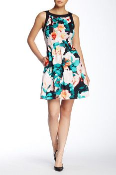 Vince Camuto Printed Scuba Fit & Flare Dress