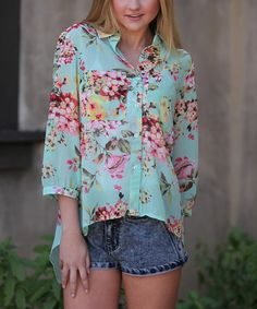 Love this Mint & Pink Floral Hi-Low Button-Up Top by Angie Apparel on #zulily! #zulilyfinds
