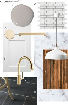 "1. Dovetail Gray - Sherwin Williams, 2. Daltile 2"" x 4"" Subway Tile Mosaic via Home Depot, 3. Brass Hardware via Schoolhouse Electric, 4. Ikea RANARP pendant, 5. White Shaker Style Cabinetry, 6. Walnut Butcher Block Countertop, 7. Delta Trinsic Faucet 8. Porceline 12"" x 24"" Slate-Look Floor Tiles via Thorntree, 9. Carerra Marble Countertop"
