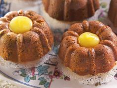 Individual Pistachio Bundt Cakes with Lemon Curd Filling recipe from Nancy Fuller via Food Network