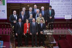 Alfonso (L) Alonso, Queen Letizia of Spain (2ndL) and Pio Garcia-Escudero (3rd L)attend the Rare Diseases World Day ceremony at Spanish Senate on March 5, 2015 in Madrid, Spain.  (Photo by Pablo Cuadra/Getty Images)