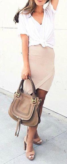 Nude midi skirt + white tee.