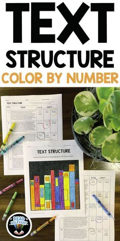 Text Structure Color by Number Middle School Reading, Middle School Classroom, Middle School English, High School, School Teacher, 6th Grade Ela, 5th Grade Reading, Fourth Grade, Sixth Grade