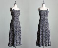 Navy Blue Maxi Dress 1990s Vintage Navy Blue And Ivory by decades, $36.00