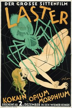 """Movie poster for German silent film """"Laster"""", 1927. Creepy spider, Expressionist style"""