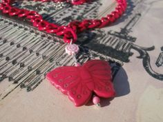 Hot pink chain features butterfly pendant very by SofiasCottage, $9.00