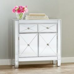Mirrored Cabinet Storage Drawers Furniture End Table Nightstand Accent Dresser #SouthernEnterprises #Modern