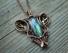Labradorite pendant Wire wrap pendant Copper by LenaSinelnikArt