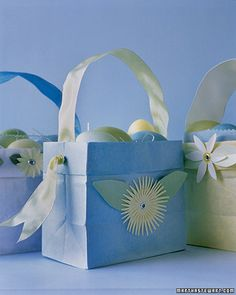 "Baskets from paper bags. Perfect for an Easter Party. I doubt I'll be using ""colored paper bags"" though."