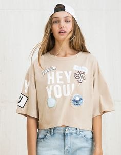 BSK 'Hey You' patches top - T- Shirts - Bershka United Kingdom