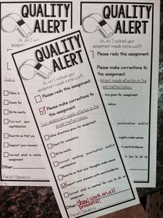 Quality Work Alert: