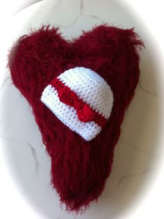 White Valentine Beanie with Red Bow  All by dcoycrochetsforyou, $10.00