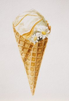 original watercolor painting ice-cream