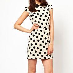 Shirt Neck Polka Dot Sleeveless Polyester Ladylike Style Women's DressVintage Dresses | RoseGal.com
