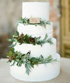 Greenery Wedding Cake by Rebecca Arthur