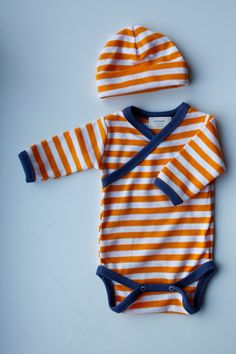 Newborn Orange Striped Kimono Style Onesie and Hat Set