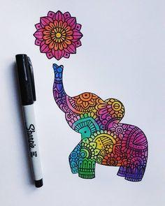 No photo description available. Doodle Art Drawing, Zentangle Drawings, Mandala Drawing, Zentangle Patterns, Drawing Ideas, Sharpie Drawings, Sharpie Art, Cute Drawings, Sharpie Doodles