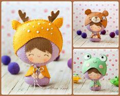 PDF Baby dressed up as deer, bear and frog. Plush Doll Pattern, Softie Pattern, Soft felt Toy Pattern.
