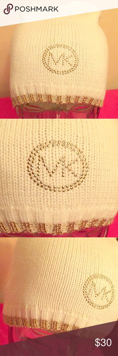 🆕 Michael Kors Beanie Authentic Michael Kors Metallic Logo Beanie. Cream with Gold Nailhead MK Logo on the Front. Ribbed. Solid Cream Bottom with Gold Metallic Border. 45% Acrylic/36% Polyester/19% Metallic. Brand New. Excellent Condition. No Trades. See Other Cool Michael Kors Listings in My Closet. 👌🏽 Michael Kors Accessories Hats