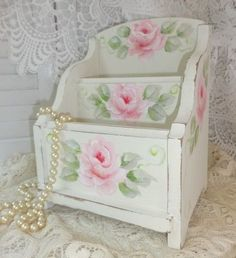 FLIRTY ORGANIZER ~ Hand Painted so pretty & shabby. Available on Ebay. artist sunny-sommers