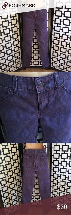 "Free People Ikat Aztec print purple skinny jeans Excellent used condition. Super soft stretchy denim. Inseam 30"" Free People Jeans Skinny"