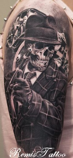 Gangster skull tattoo, black and grey tattoo by Remis remistattoo realistic tattoo ink ideas designs arm halfsleeve sleeve inspiration