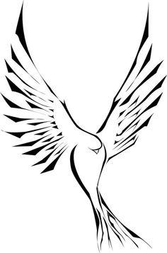 eine Taube mit Tribal Look und geöffneten Flügeln