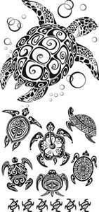 And White Vector Turtle Tattoo Templates In Tribal Style Also Can
