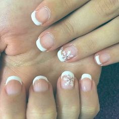 French manicure & snowflakes #nails #love #cute #space #nailart #art #design #gel #gellux #gelnails #gelluxnails #manicure #pedicure #nailtechnician #dorset #ombre #glitter #polkadots #ombrenails #gelhands #geltoes #creative #stylish #elegant #french #frenchmanicure #winter #christmas #christmasnails
