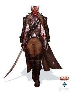 Star Wars: Edge of the Empire - Devaronian Pirate, David Kegg on ArtStation at https://www.artstation.com/artwork/xBlDW