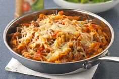Penne Pasta Skillet. Turns out perfect every time! I substitute Morningstar crumbles for the ground beef.