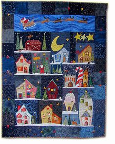 """""""Welcome to the North Pole"""" quilt, made by Regina Grewe from Germany."""