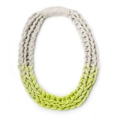 Purls hand woven yarn necklace - Neon Yellow