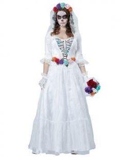 La Novia Muerta (The Dead Bride) Day of the Dead Wedding Dress w/ Face Tattoos
