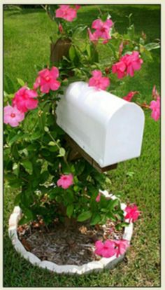 Mailbox garden design; the white stone picks up on the white mailbox. The pink flowers are simple, yet perfect.