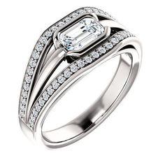 Diamond Engagement Rings : 0.75 Ct Emerald Ring 14k White Gold