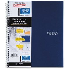 Five Star Wirebound Notebook, 1-Subject, 100 College-Ruled Sheets, 11... ($20) ❤ liked on Polyvore featuring home, home decor, stationery, school, school supplies, books, notebooks and school stuff