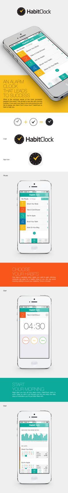 HabitClock App by Kutan URAL, via Behance