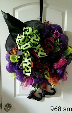 Witch deco mesh wreath Halloween witchy woman! Flying witch  #968
