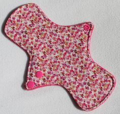 Bamboo Terry Lining. Reusable Modern Cloth Pad featuring Pink Pansies cotton print (midi size)