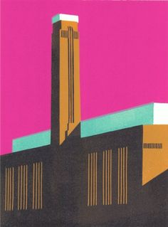 A new hand-printed linocut entitled Tate Pink III produced by modern british artist Paul Catherall in Signed and numbered from an edition of 95 prints. Linocut Prints, Art Prints, Art Alevel, Tate Gallery, A Level Art, London, Modern Prints, Illustrations Posters, Architecture Illustrations