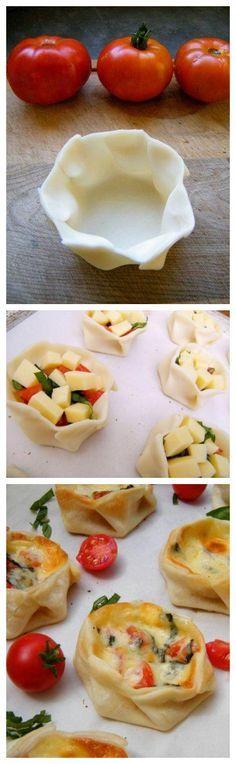 leicht und schnell - Blätterteig mit Tomaten, Gouda und Basilikum