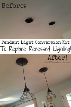 Kitchen Lighting Remodel shows you how to convert recessed lighting into pendant Kitchen Ceiling Lights, Kitchen Lighting Fixtures, Kitchen Pendant Lighting, Kitchen Pendants, Bathroom Recessed Lighting, Strip Lighting, Home Lighting, Lighting Ideas, Houses