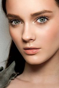 Polished: For a polished look use a bright shimmery lid color, and a peach/soft brown color for the crease. Peach blush.