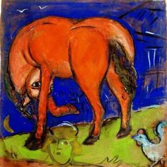 Marc Chagall - Le Cheval rouge, 1937-1943. Gouache on paper, 50,5 x 50 cm. Private Collection, Paris, France