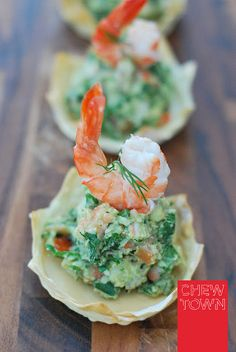 Prawn and Avocado Wonton Crowns the perfect summer entertaining entree or canape! Recipe from Chew Town Food Blog