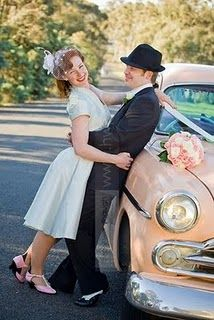 Vintage pink car as wedding transportation! Would love to know what kind it is... And can I just say how much I love the bride's retro look with the short dress and veil?! *happy sighs* His look is awesome too. Love the groom's pairing of the hat with the black and white wingtip shoes. So retro-stylish!